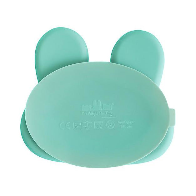 Piatto Multiscomparto Coniglio, Verde Menta, con Base Anti-scivolo We Might Be Tiny - Shop Millemamme