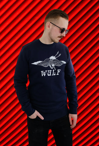 NEW DAY Wulf Crane Sweater, Navy