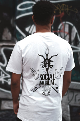 Chilluminati Social Medium Double Sided Tee, White