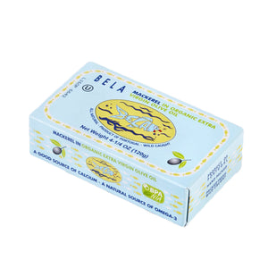 Bela Mackerel in Organic Extra Virgin Olive Oil - 12 Pack - TinCanFish - sustainably sourced - gourmet products - healthy fats & proteins