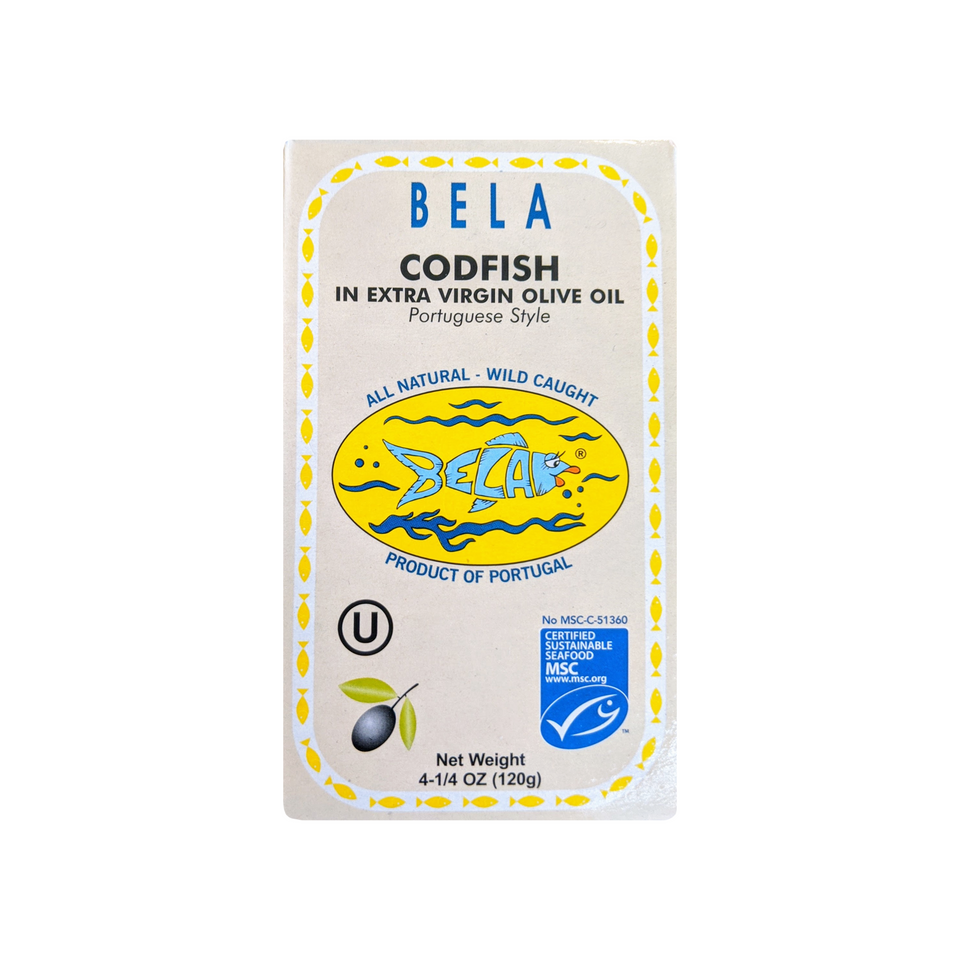 Bela Codfish in Extra Virgin Olive Oil, Portuguese Style - 6 Pack - TinCanFish - sustainably sourced - gourmet products - healthy fats & proteins