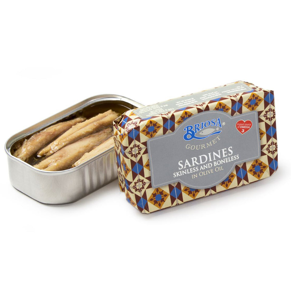 Briosa Gourmet Skinless and Boneless Sardines in Olive Oil - 12 pack - TinCanFish - sustainably sourced - gourmet products - healthy fats & proteins