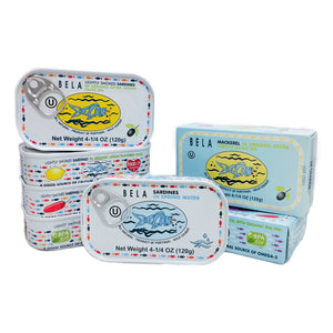 Bela Sardines and Mackerel Variety Pack - 7 Pack - TinCanFish - sustainably sourced - gourmet products - healthy fats & proteins