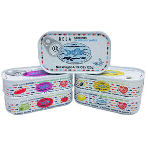 Bela Sardines Variety Pack - 10 Pack - TinCanFish - sustainably sourced - gourmet products - healthy fats & proteins