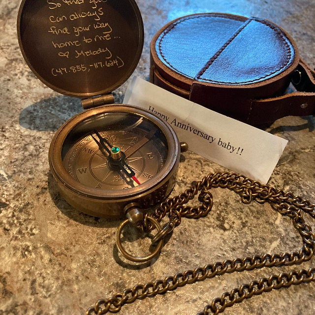 anniversary day gift engraved compass