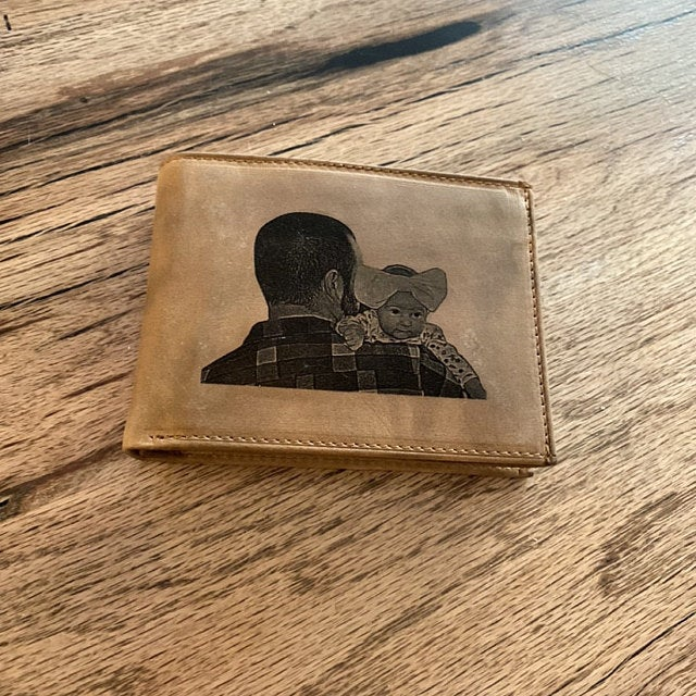 engraved mens photo leather wallet