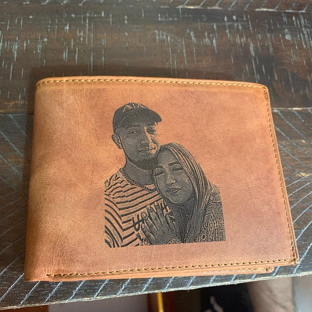 mens brown color photo wallet