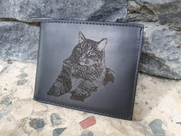 animal engraved on leather wallet