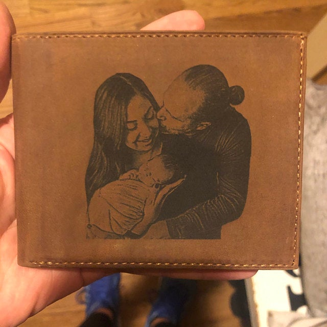 brown mens photo wallet
