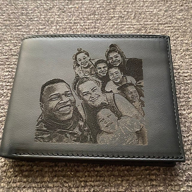 custom picture engraved leather mens wallet