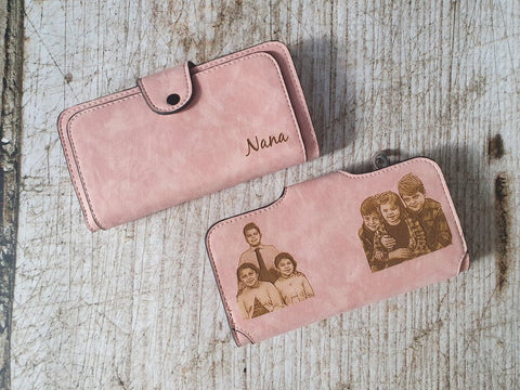 custom womens wlalet with photo engraving
