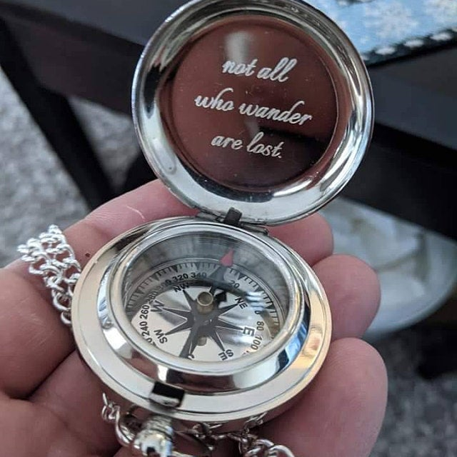 customized silver compass