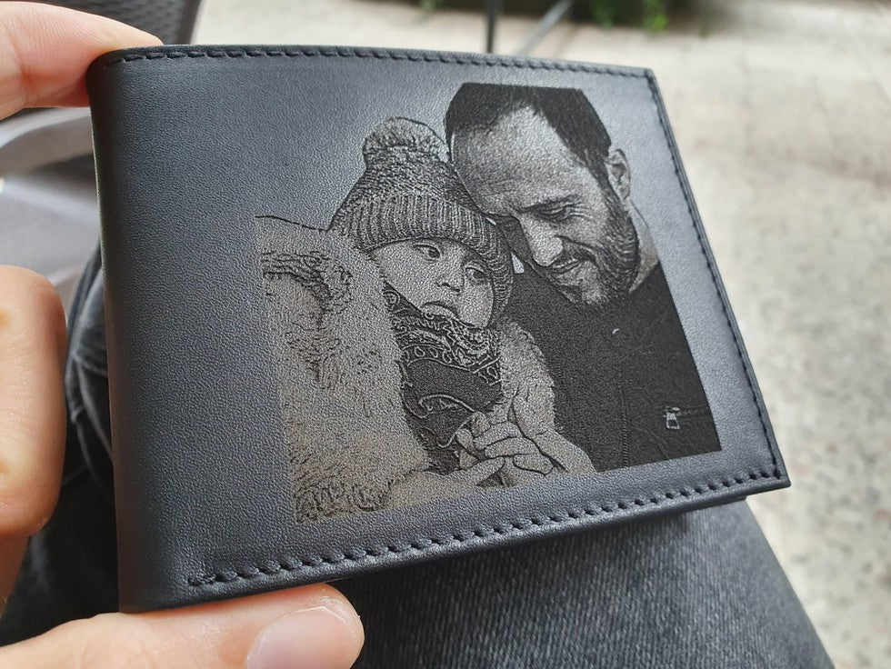 custom mens wallet with photo engraving