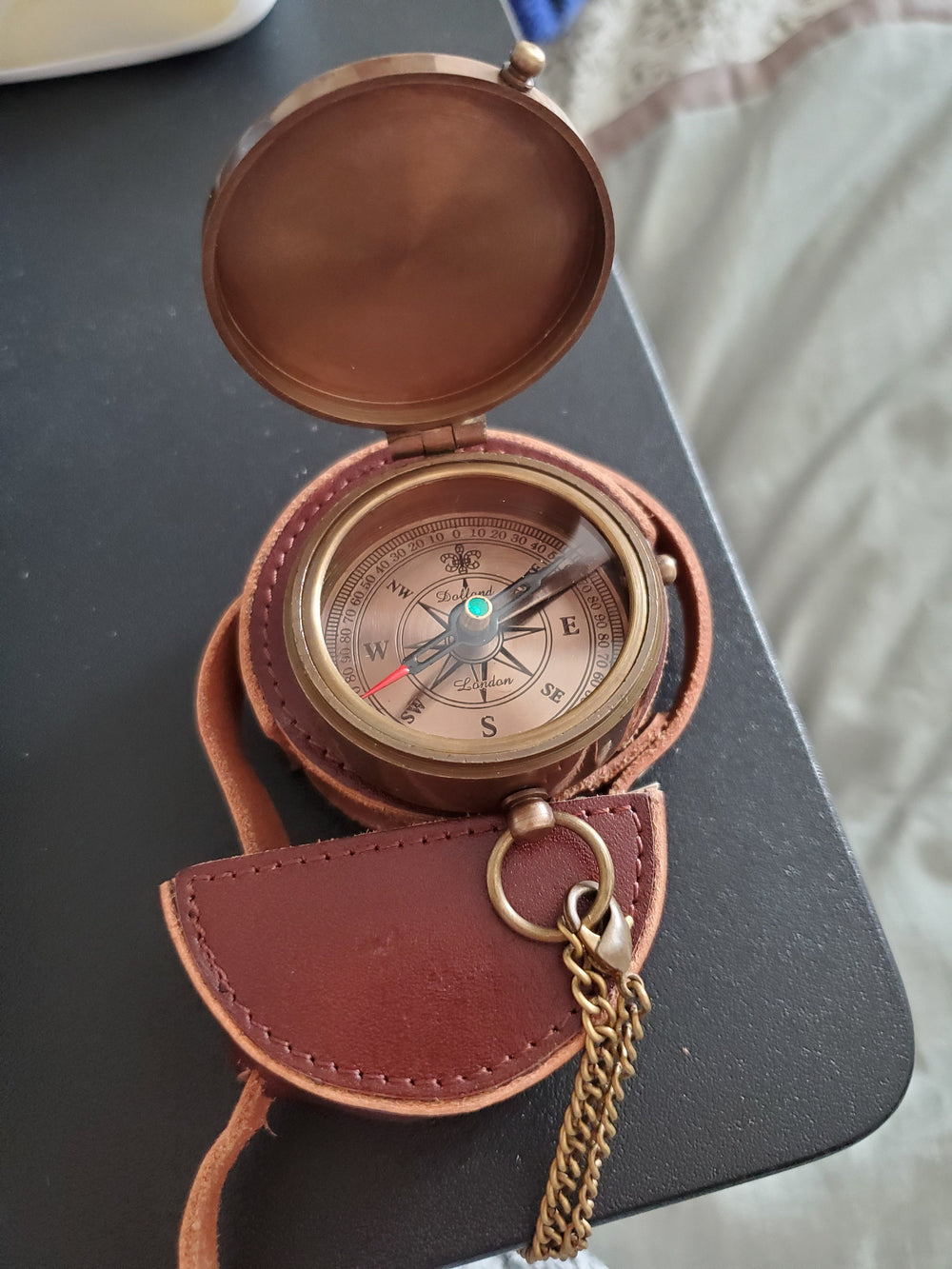 personalized compass with leather pouch