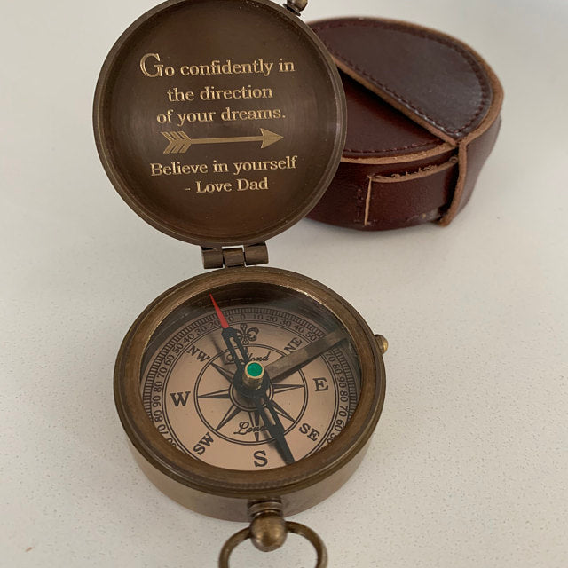 engraved custom compass