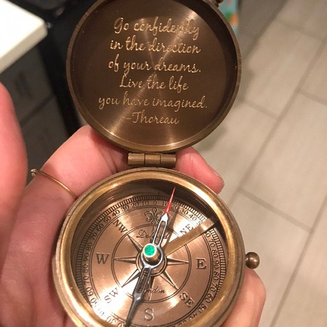 engraved custom working compass
