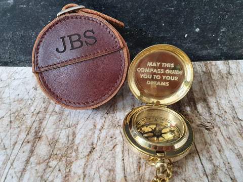custom engraved golden compass with leather case