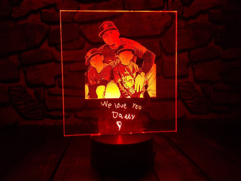 personalized custom photo engraved red night light