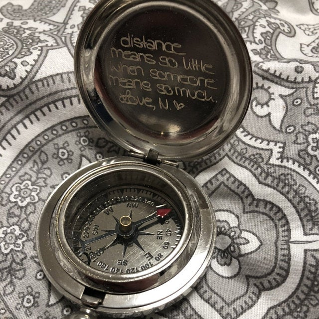 custom handwriting silver compass