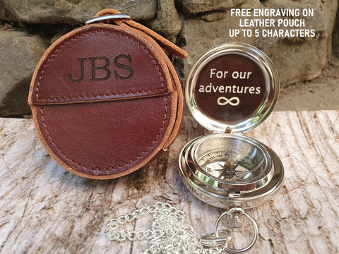 personalized engraved silver compass with leather pouch