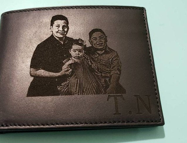 custom photo engraved leather mens wallet