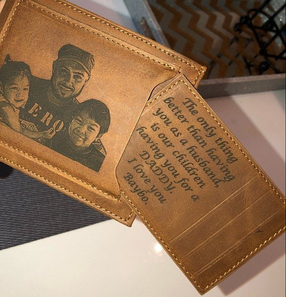 fathers day wallet with custom photo engraving