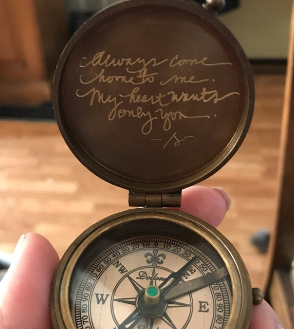 my handwriting engraved on the compass