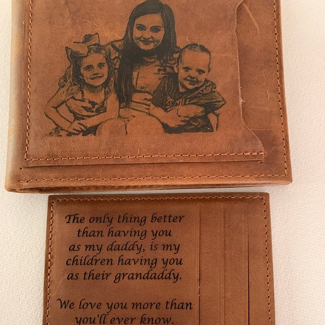 engraved mens leather photo wallet