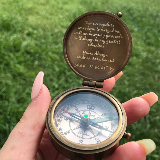 custom engraved compass
