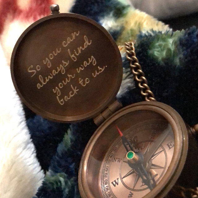 engraved compass gift
