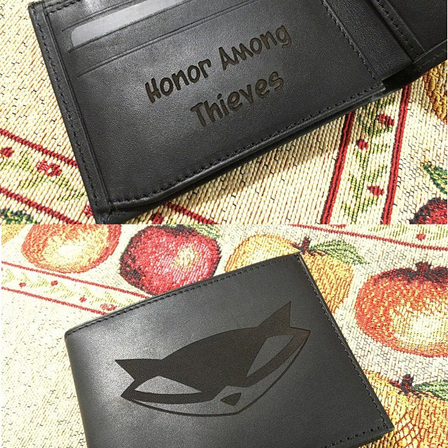 engraving inside of the mens wallet