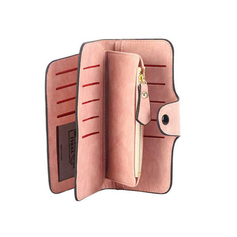 pink womens leather wallet