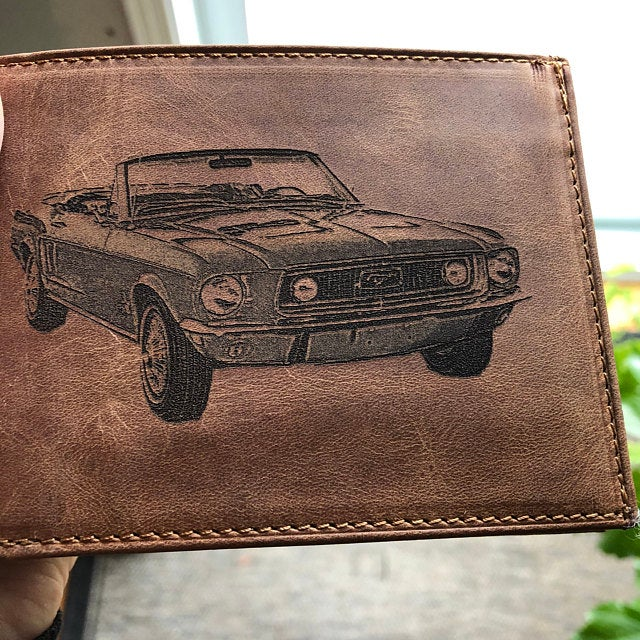 custom mens leather wallet brown