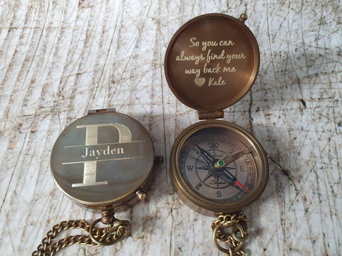 monogram engraved compass gift