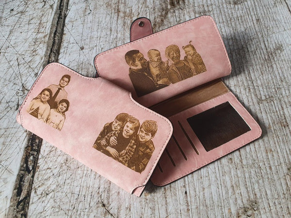 personalized monogrammed womens photo wallet