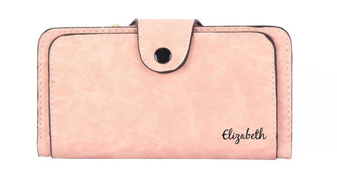 personalized pink womens wallet