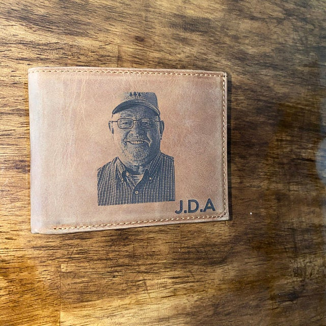 custom mens brown photo wallet