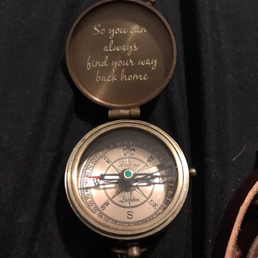 engraved compass so you can always find your way back home