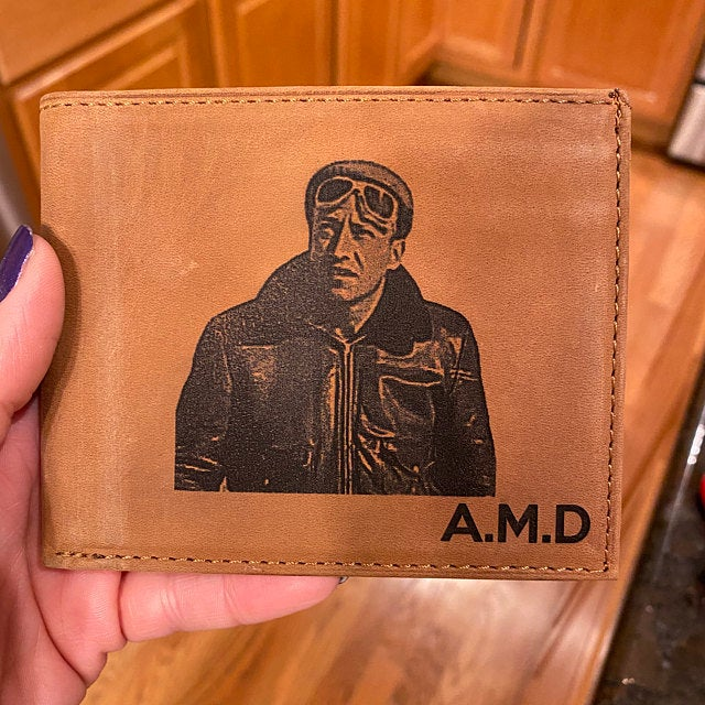 mens picture engraved wallet