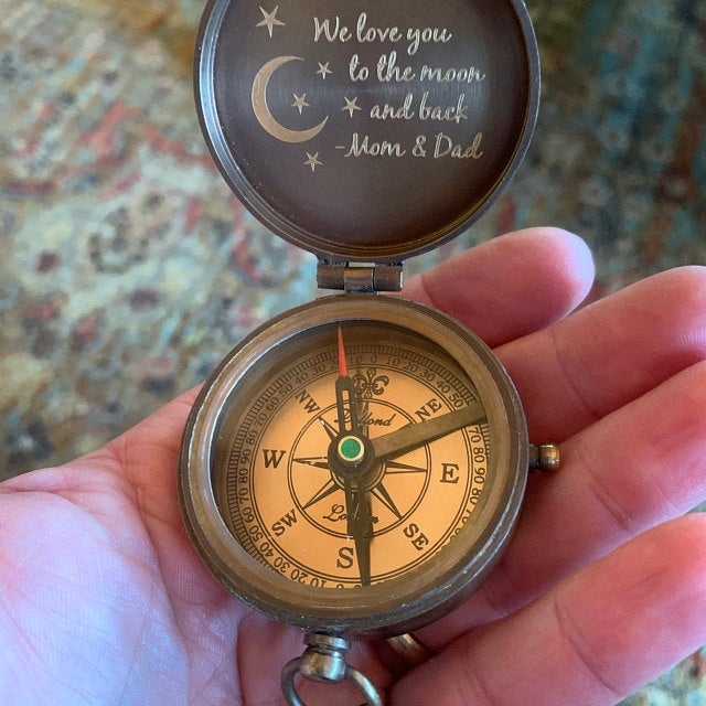personalized engraved compass
