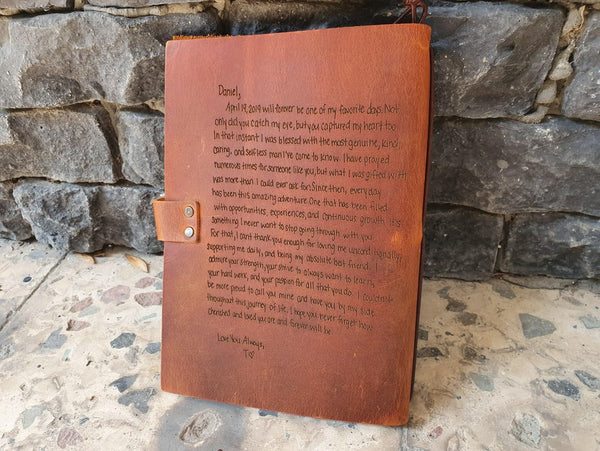 personalized handwriting engraved journal