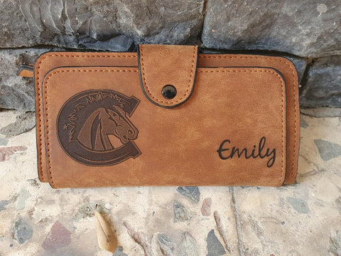 logo engraved womens wallet