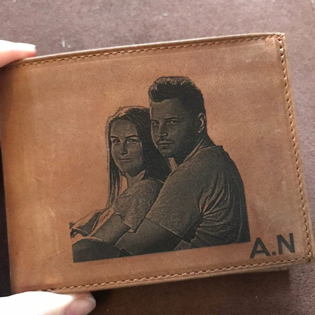 brown mens leather wallet customized