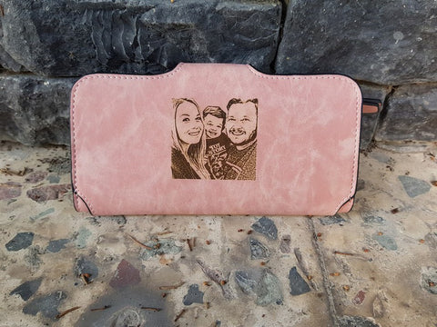 picture engraved womens leather wallet