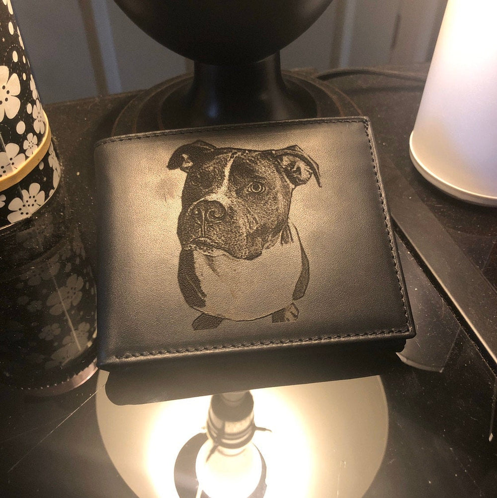 personalized photo engraved leather mens wallet