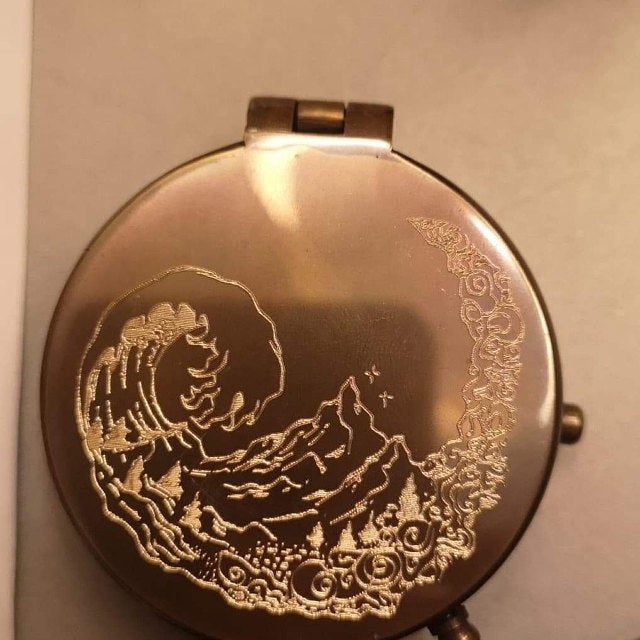 wave engraved custom compass
