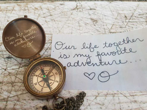 own handwriting engraving on compass