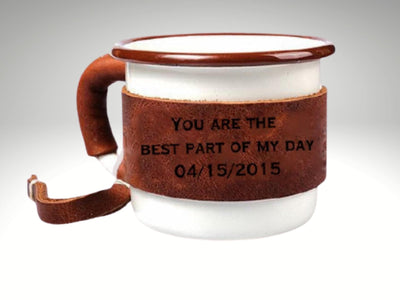 engraved leather enamel camping coffee mug