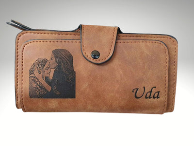 custom photo engraved brown womens wallet