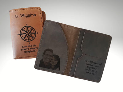 custom engraved leather passport case